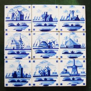 Delft tiles - 9 shown
