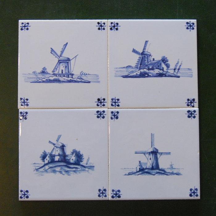 Delft windmill tiles - 4 shown