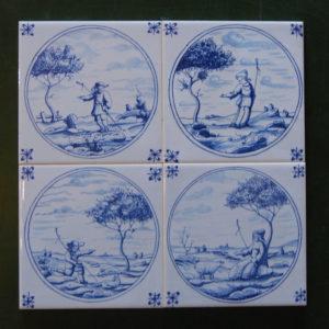 Delft tiles - 4 shown