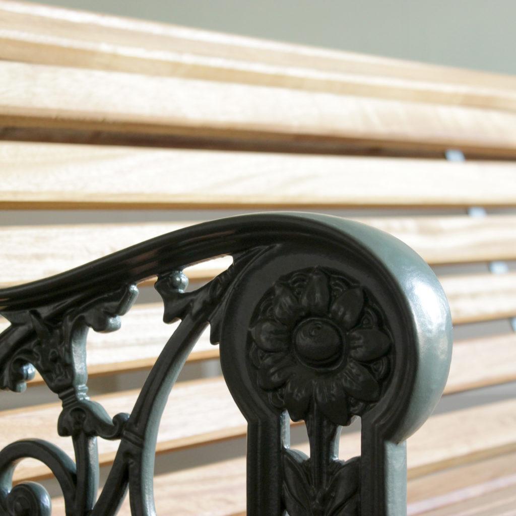 Decorative cast iron and teak garden bench,-94146