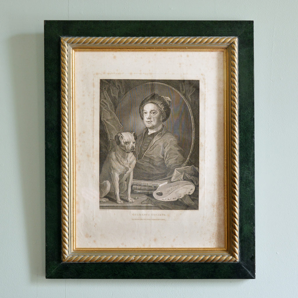 Self portrait with pug, after William Hogarth