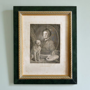 Self portrait with pug, after William Hogarth