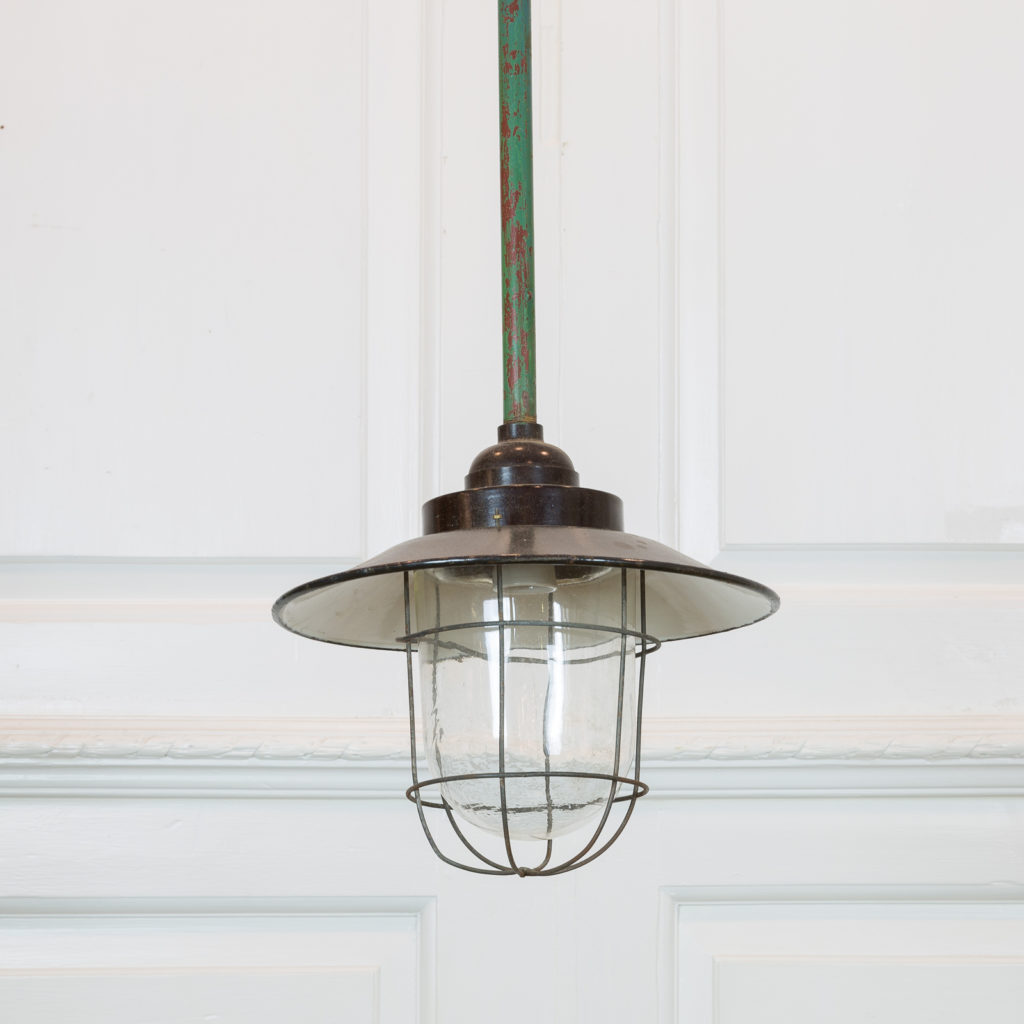 Industrial pendant with long green down stem,-0