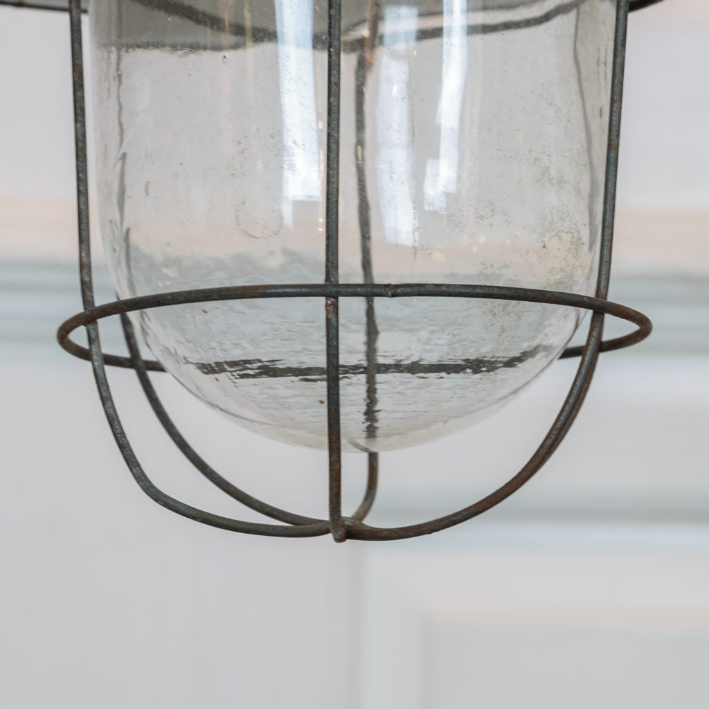 Industrial pendant with long green down stem,-94838