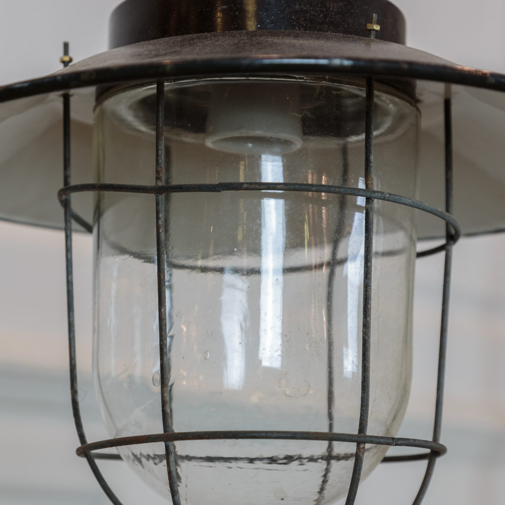 Industrial pendant with long green down stem,-94840