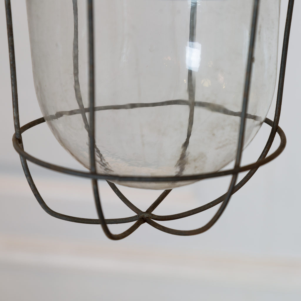 Industrial pendant with long green down stem,-94837