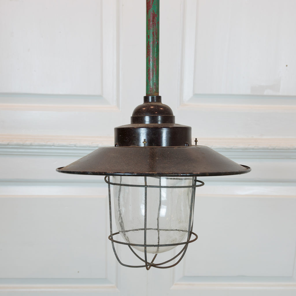 Industrial pendant with long green down stem,-94839