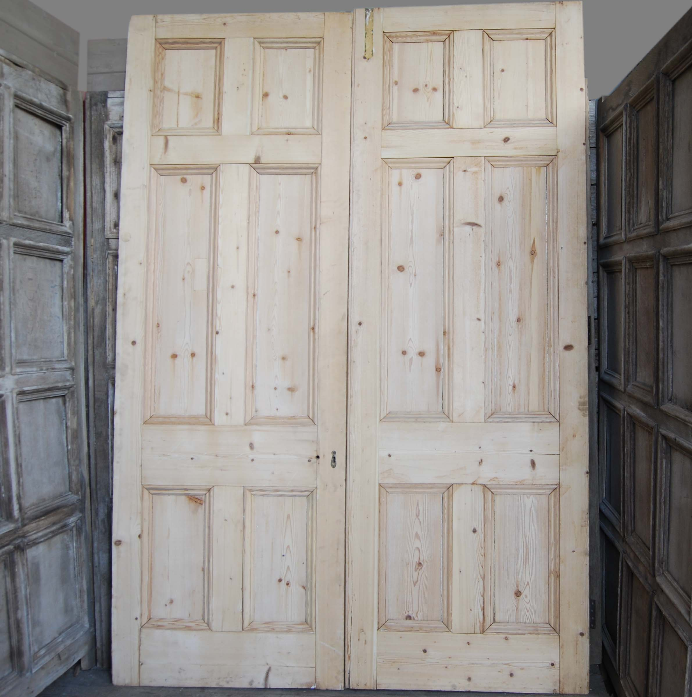 A pair of Victorian pine room dividing doors-0