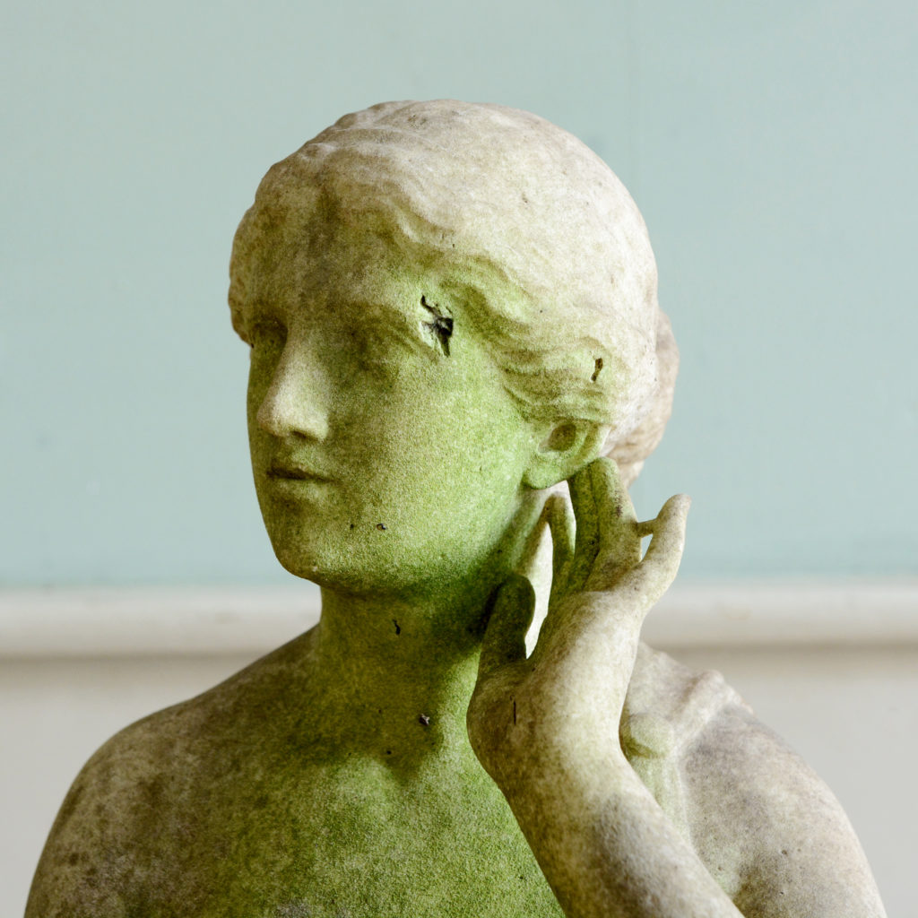 A late nineteenth century carved marble statue of Echo,-96198
