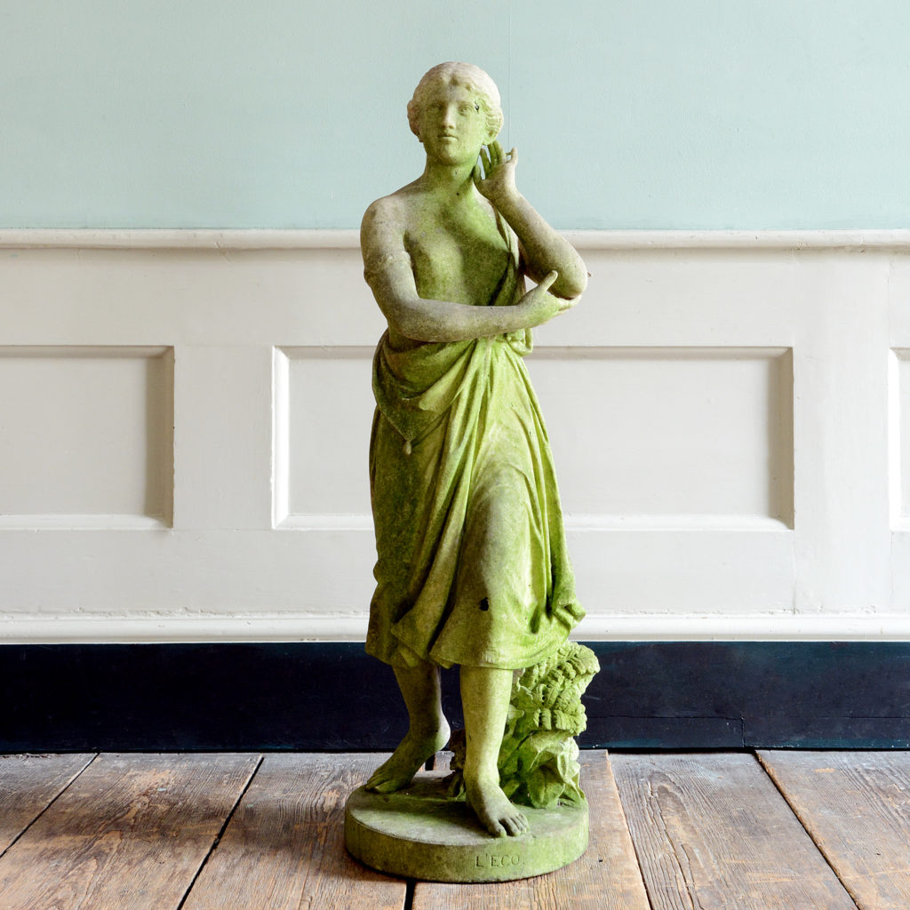 A late nineteenth century carved marble statue of Echo,-0