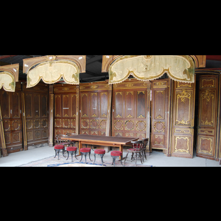 A spectacular French parcel-gilt oak panelled dining room,-105369