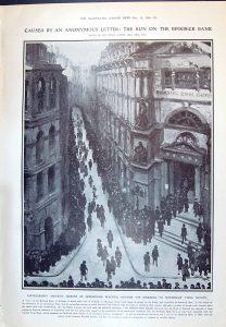 A contemporary Illustrated news piece describing the bank-run