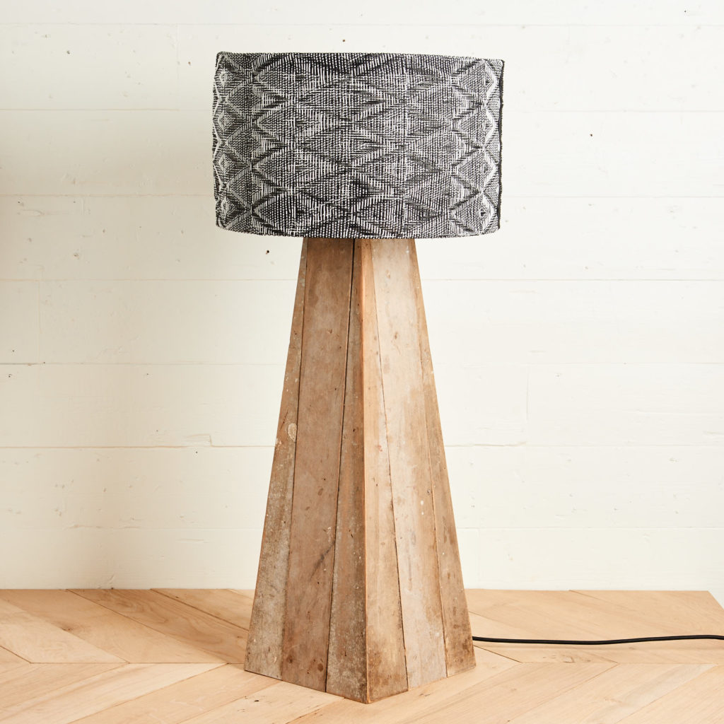 A 'GO' lamp stand with reclaimed maple,-98746