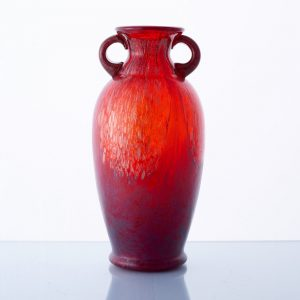 A red Murano 'Cordanato' vase with gold leaf, 1970s