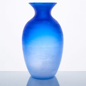 A cobalt blue Murano glass vase with 'scavo' finish, 1970s, by Cenedese