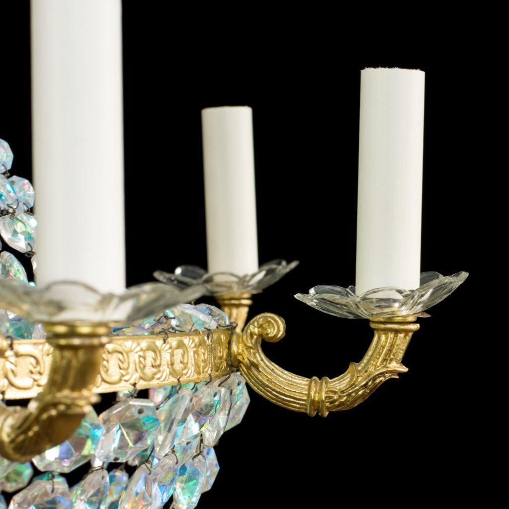 An eight branch iridescent Swarovski crystal chandelier,-99490