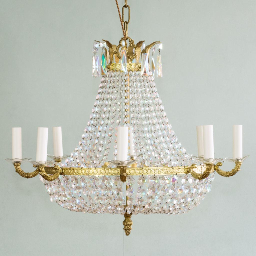An eight branch iridescent Swarovski crystal chandelier,-99493