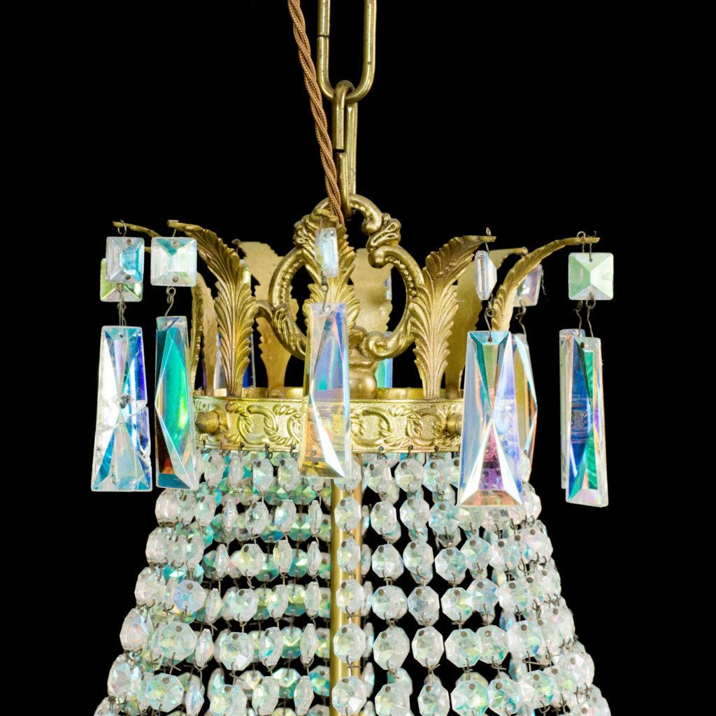 An eight branch iridescent Swarovski crystal chandelier,-99489