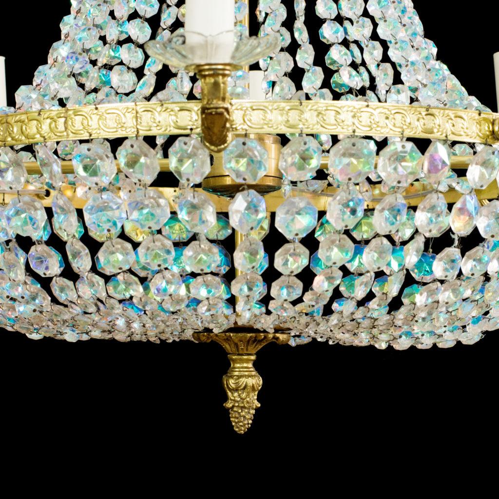 An eight branch iridescent Swarovski crystal chandelier,-99487