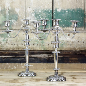 Pair of Victorian Sheffield plate candelabra