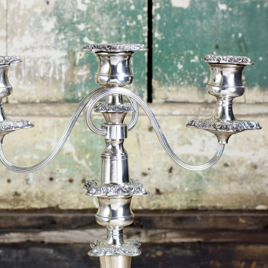 A pair of Victorian Sheffield plate candelabra,-100336