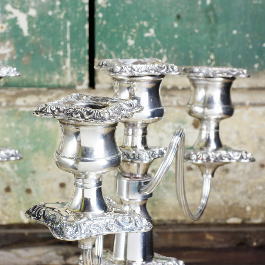A pair of Victorian Sheffield plate candelabra,-100339