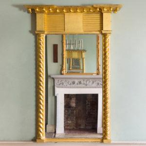 A giltwood pier mirror