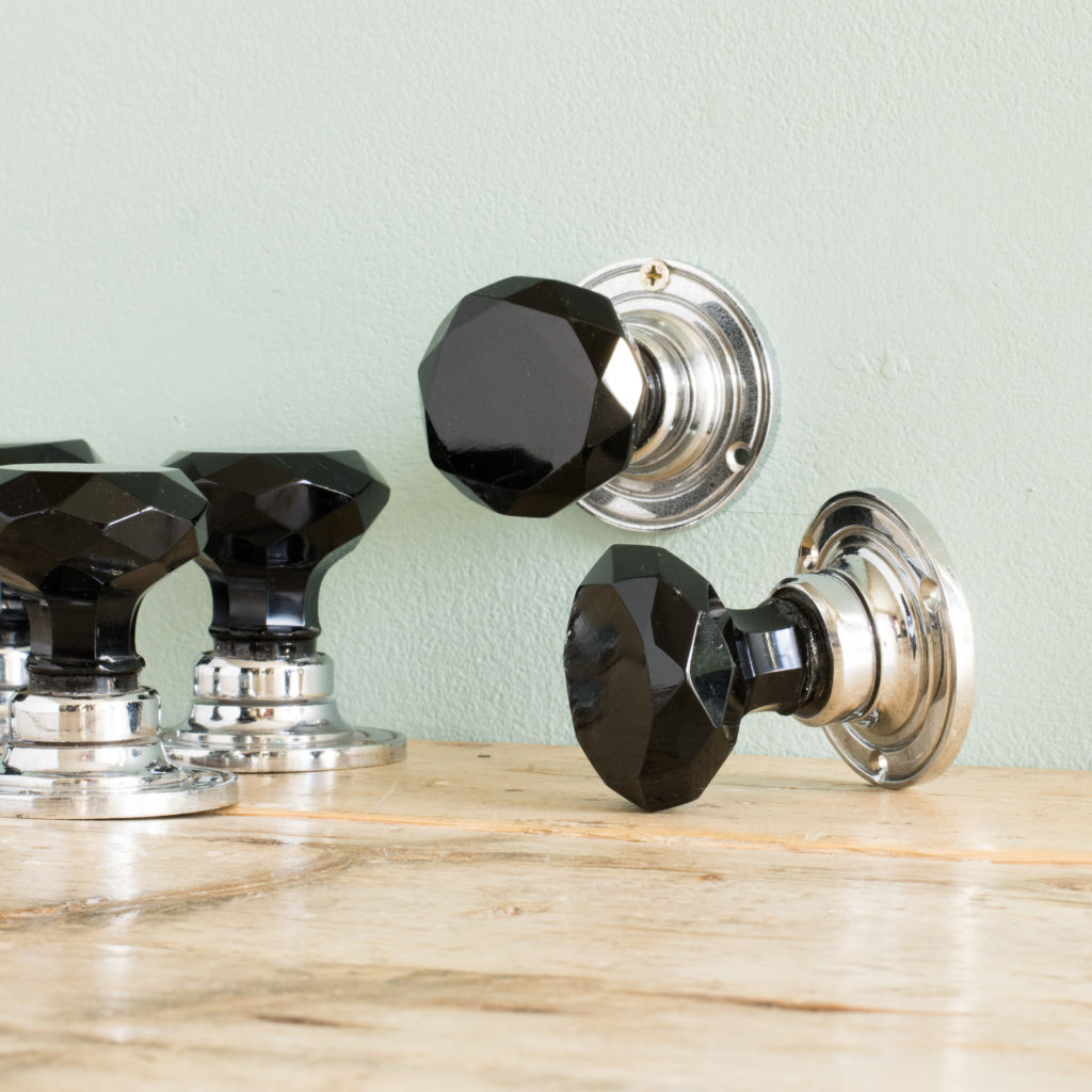 Black glass and chrome door knobs,-100132