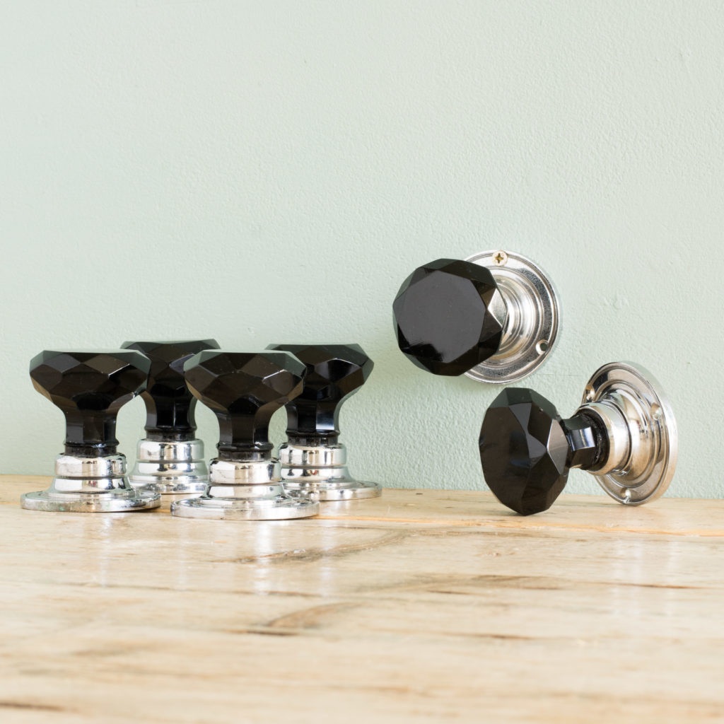 Black glass and chrome door knobs,-100133