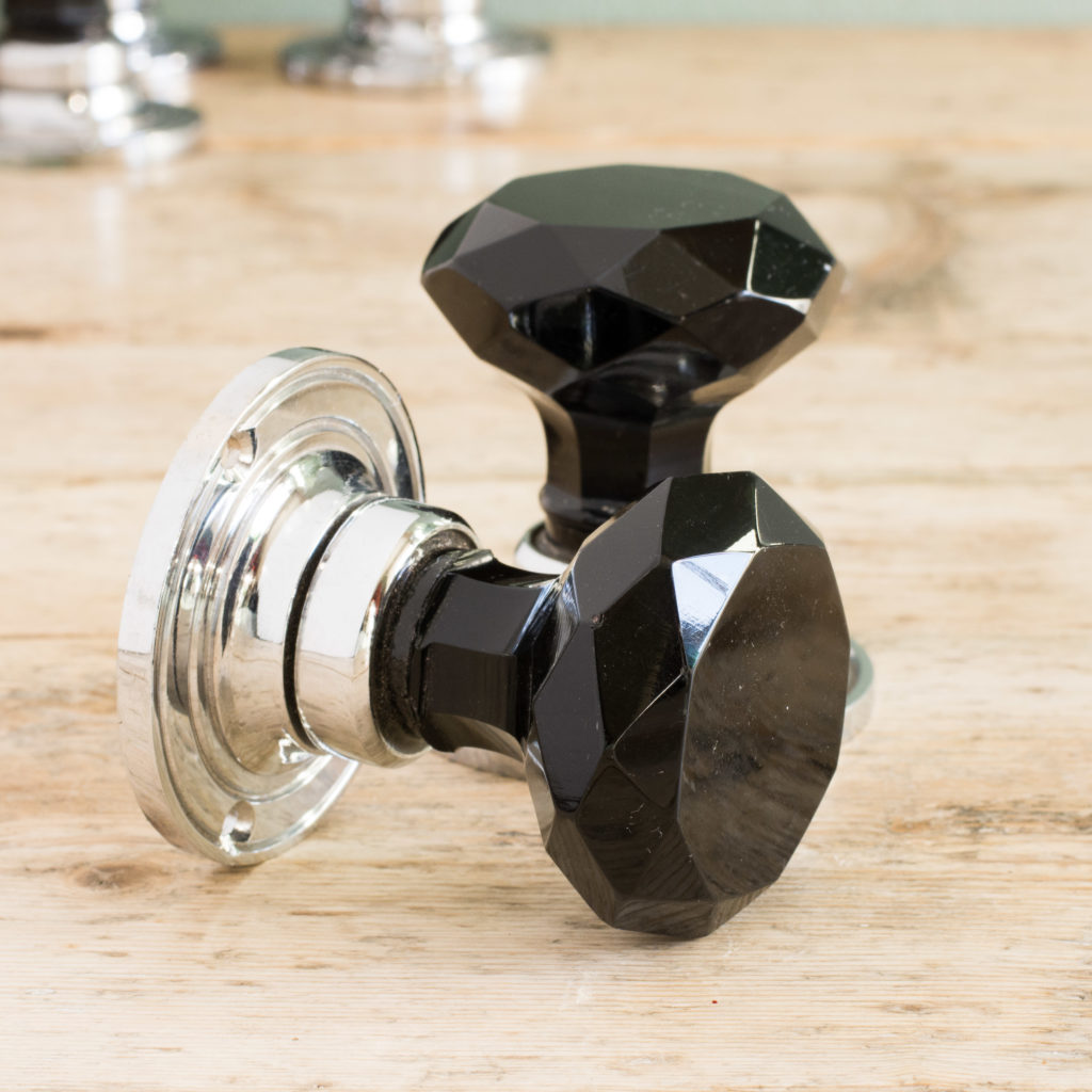 Black glass and chrome door knobs,-100134