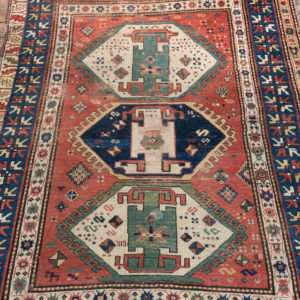 An antique Caucasian Kazak carpet,-0