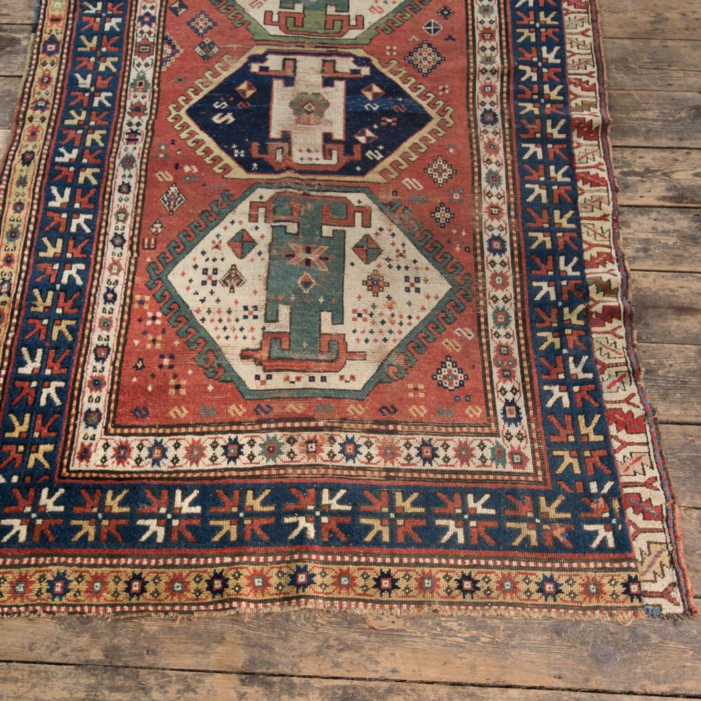 An antique Caucasian Kazak carpet,-100019