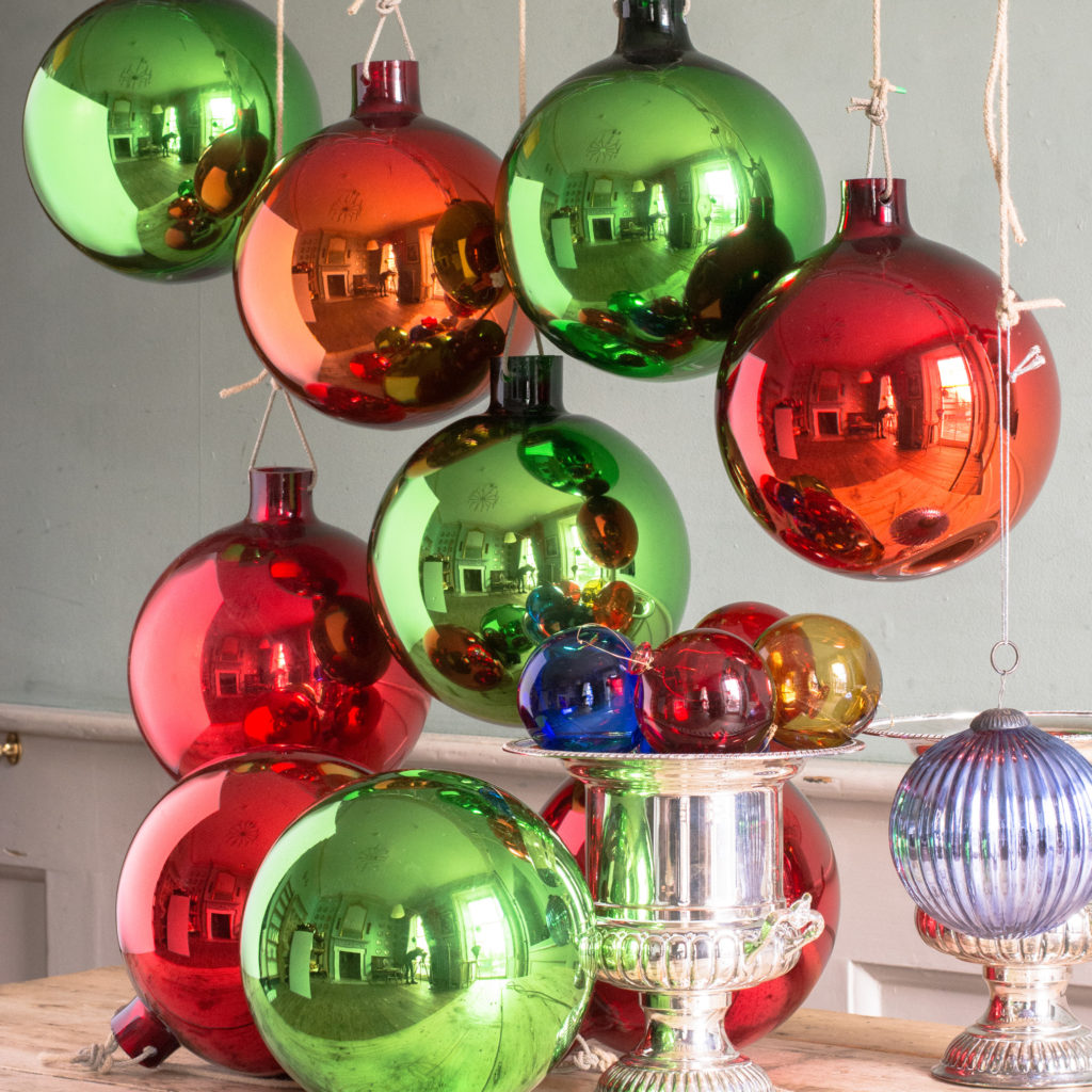 Large hand blown coloured glass Christmas baubles,-100045
