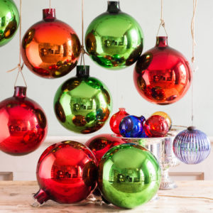 Large hand blown coloured glass Christmas baubles,-0