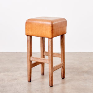 Contemporary oak and tan leather bar stool,-0