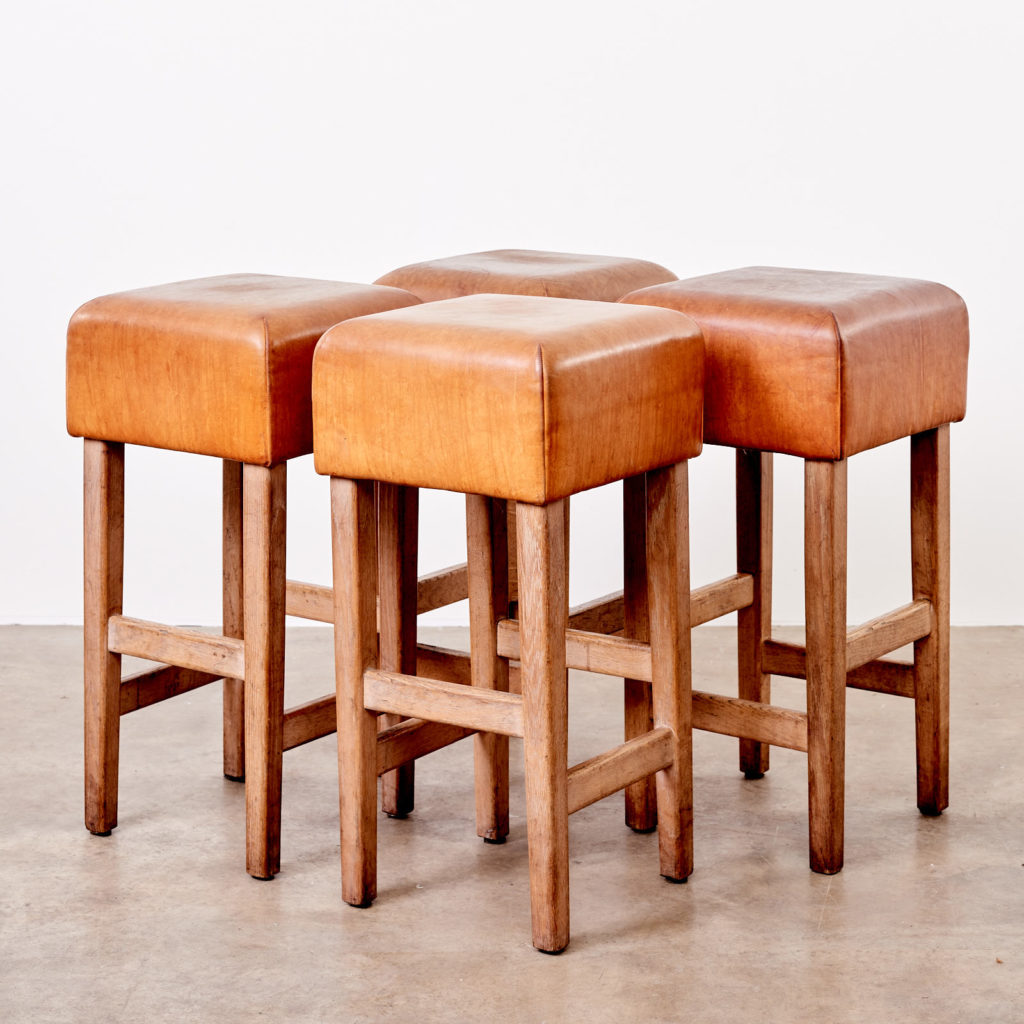 Contemporary oak and tan leather bar stool,-101040