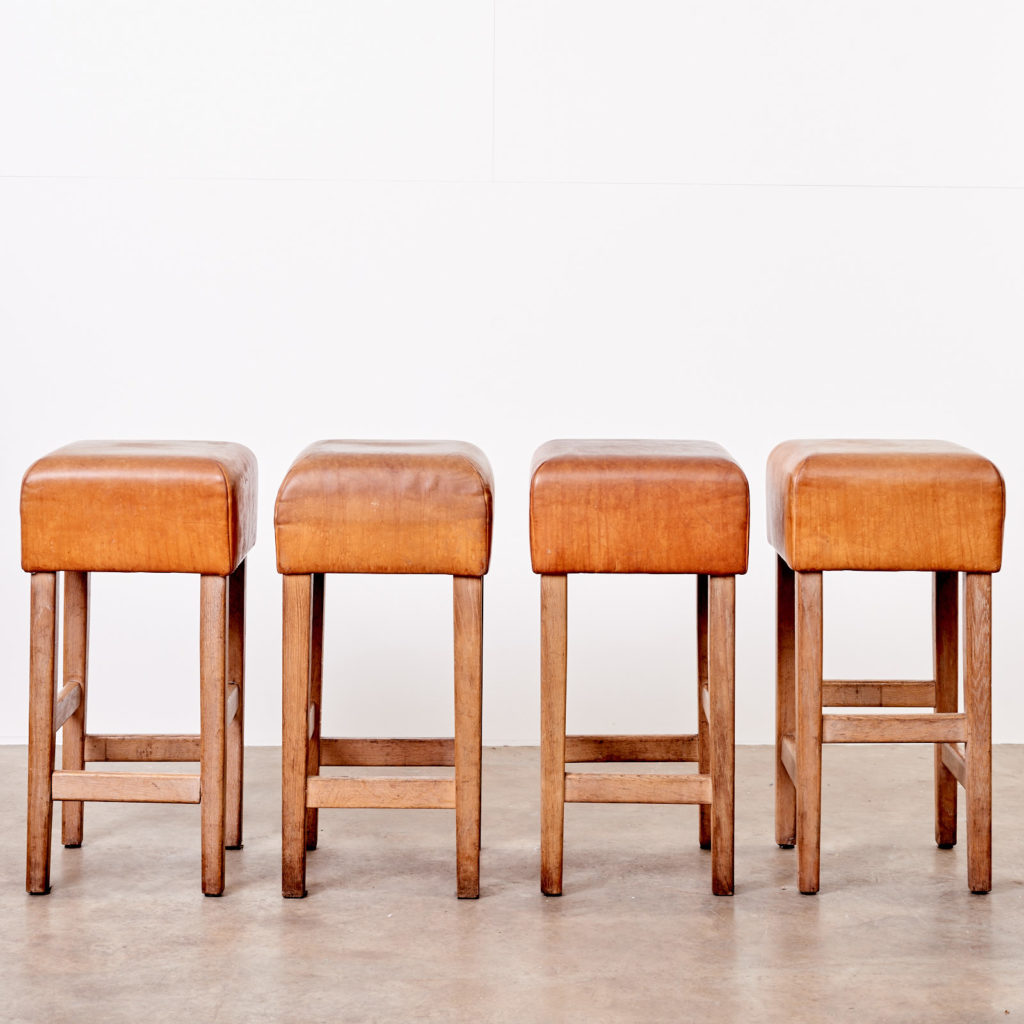 Contemporary oak and tan leather bar stool,-101036