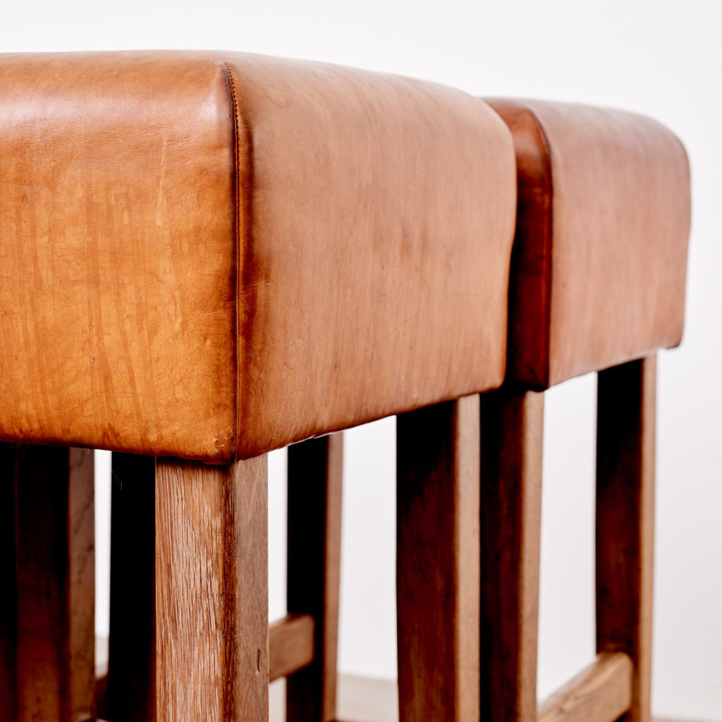 Contemporary oak and tan leather bar stool,-101039