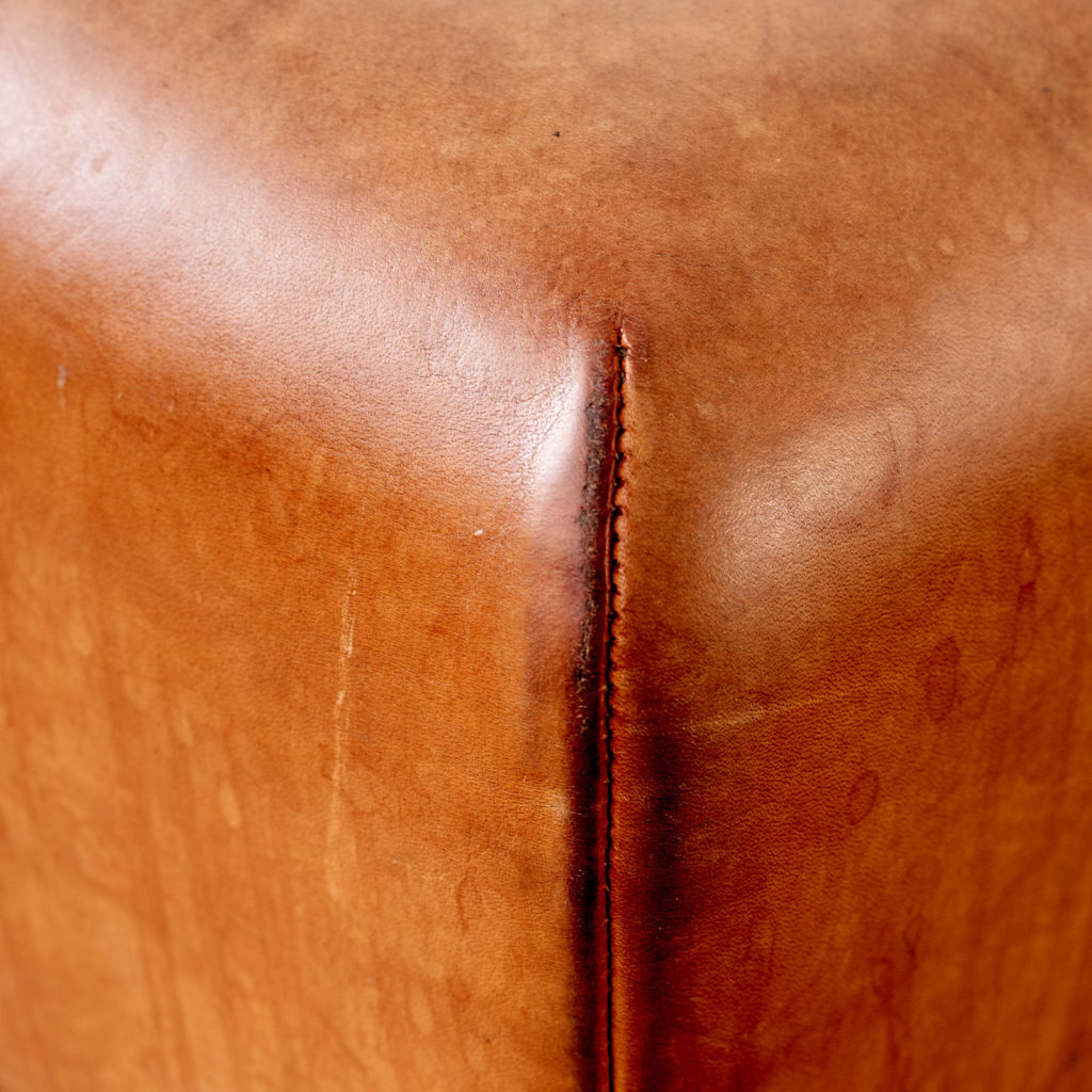 Contemporary oak and tan leather bar stool,-101035