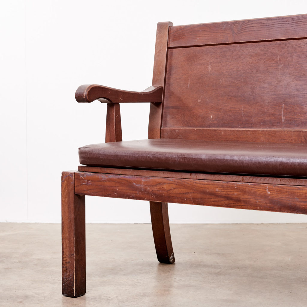 Oak bench with leather seat,-101129