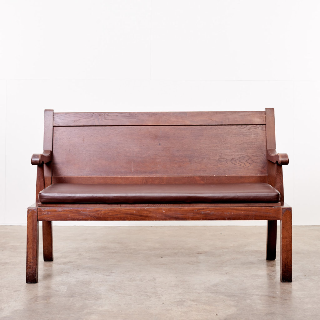 Oak bench with leather seat,-101128