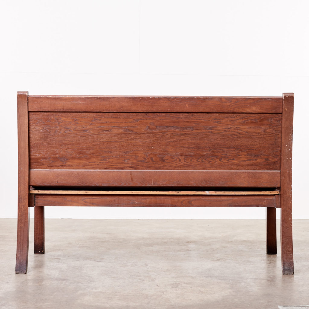 Oak bench with leather seat,-101124