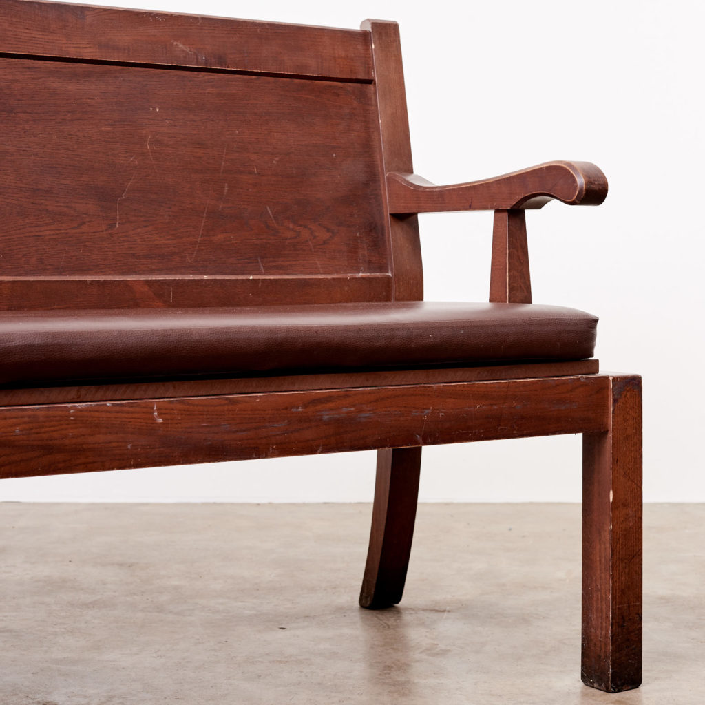 Oak bench with leather seat,-101130