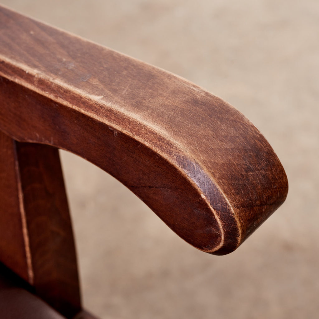 Oak bench with leather seat,-101125