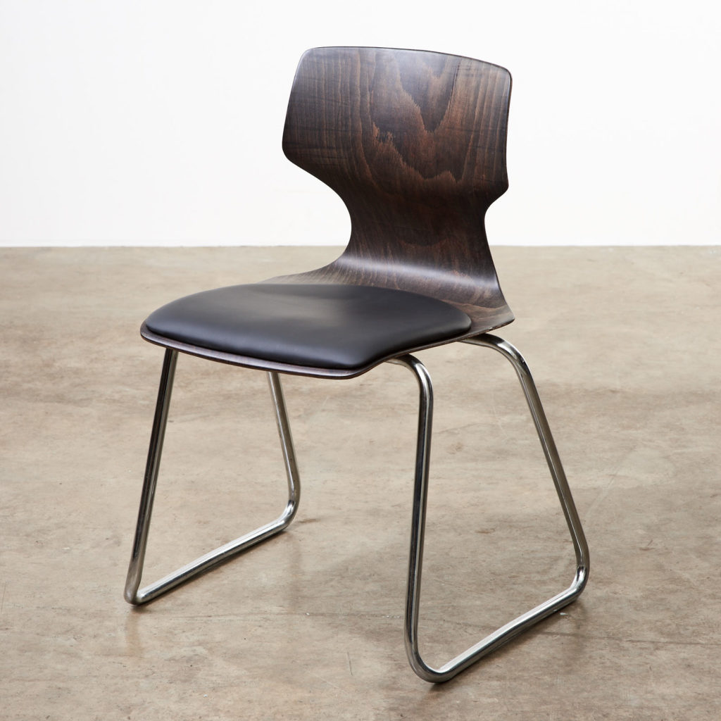 Pagwood and leather dining chair,-101450
