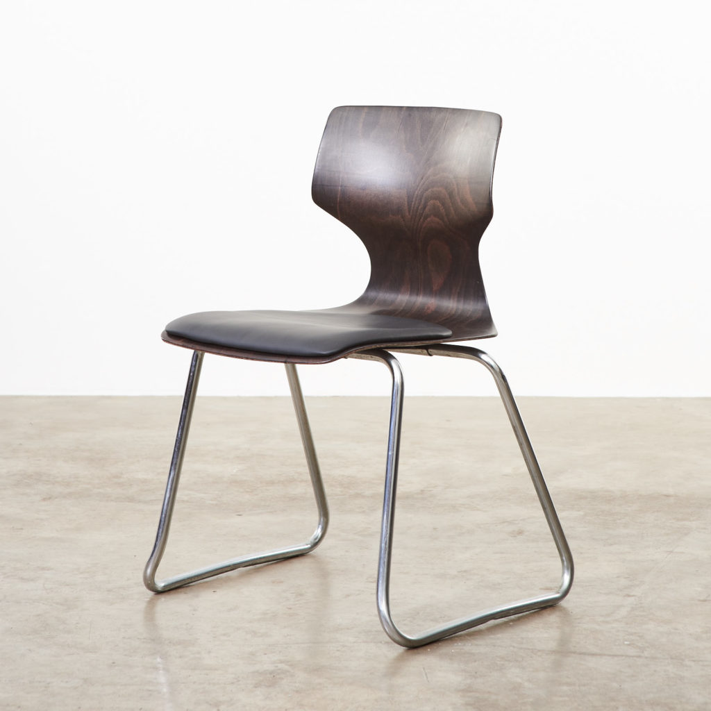 Pagwood and leather dining chair,-0