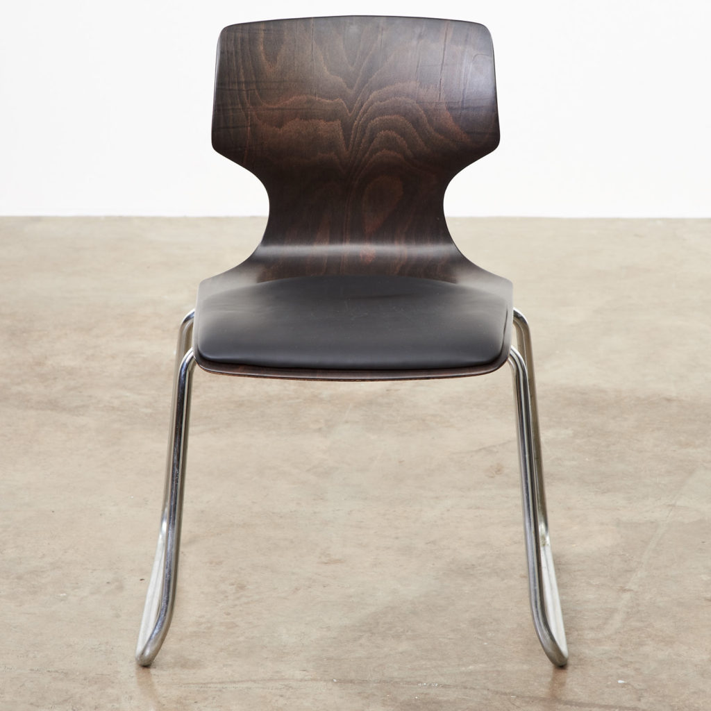 Pagwood and leather dining chair,-101461