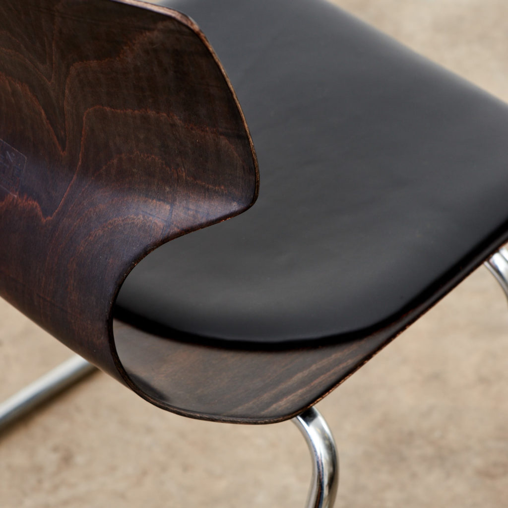 Pagwood and leather dining chair,-101455