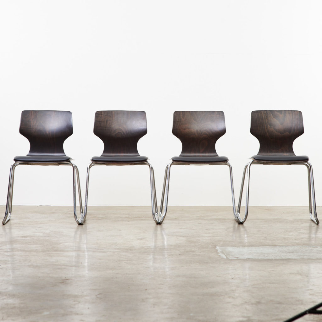 Pagwood and leather dining chair,-101462