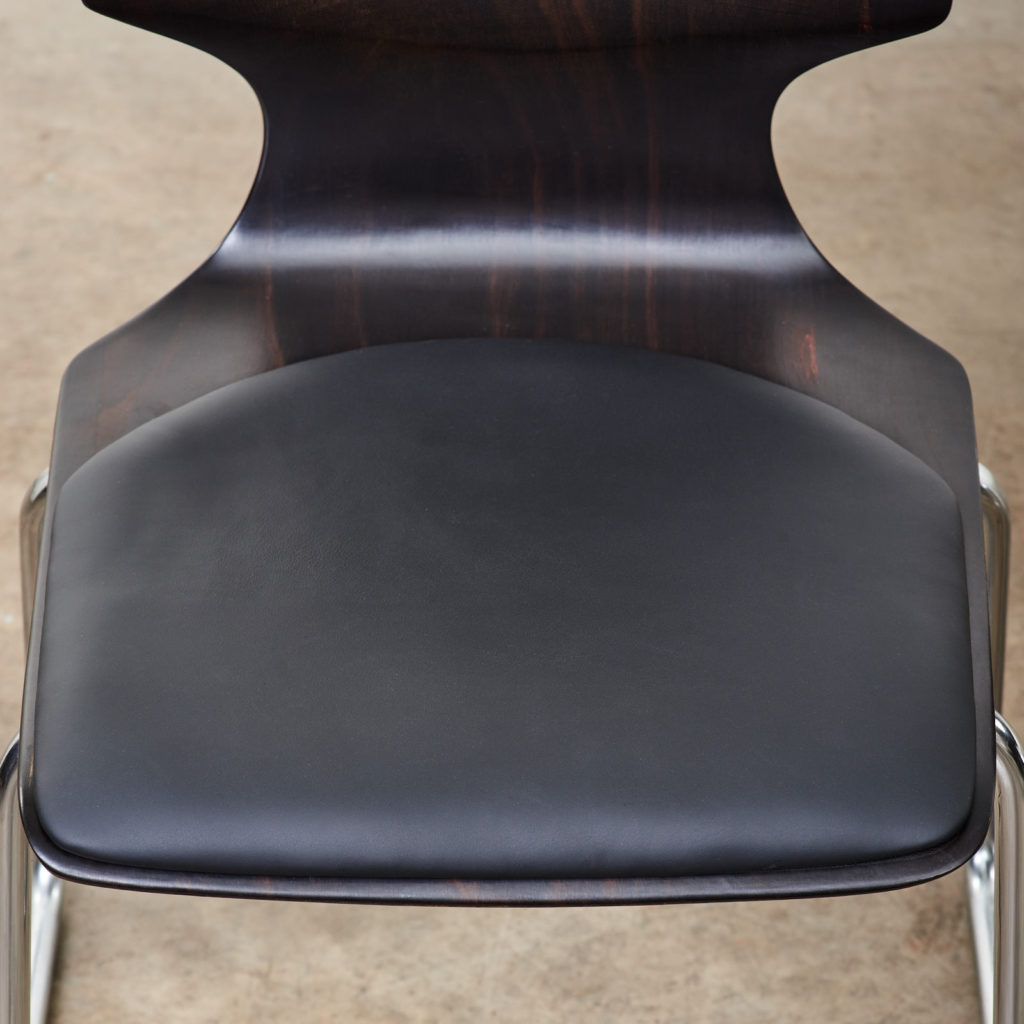 Pagwood and leather dining chair,-101452